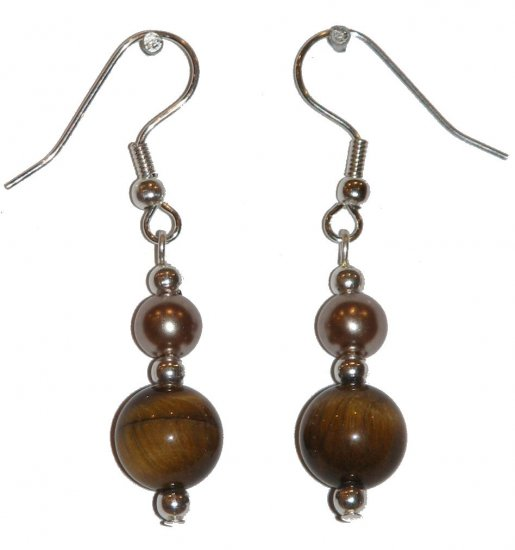 Tiger Eye Patterned Glass w/med Bronze colored Glass Gold Earrings