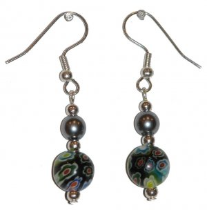 Patterned Black & Multi-colors (Wt, Rd, Ye, Gn, Bl) with Silvery Top Bead Silver Earrings