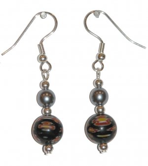 Patterned Black & Multi-colors (Wt, Ye, Or) with Silvery Top Bead Silver Earrings