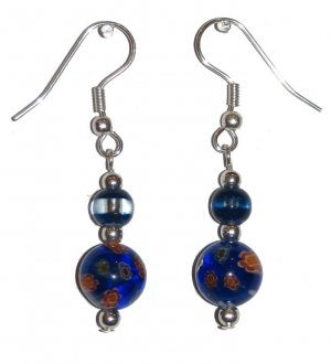 Patterned Dk Blue Glass w/Multi-color (Wt, Rd, Or, Gn) with Dk Blue/Clear Top Bead Silver Earrings