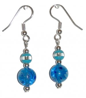 Patterned Blue/Yellow/White Flower Glass with Blue/Clear Glass Top Bead Silver Earrings