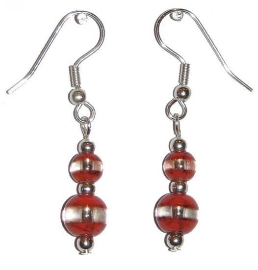 Patterned Red-Orange & Clear Glass with Red-Orange/Clear Top Bead Silver Earrings