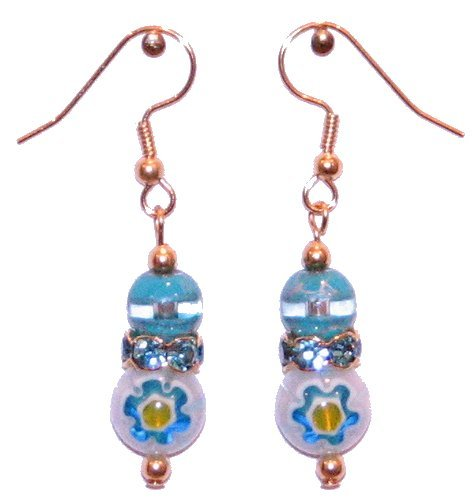 Lt Blue w/blue flower Glass with Turquoise/Clear Top Bead Lt Blue Crowned Gold Earrings