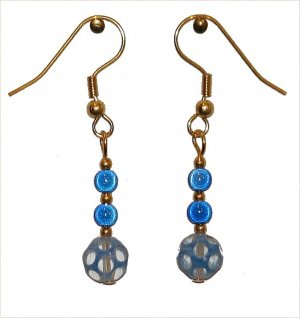 Clear and Blue Glass Octahedron with 2 Blue Miracle Beads Gold Earrings