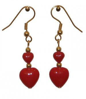 Red Opaque Glass Hearts (1 Large & 1 Small) Glass Gold Valentine Earrings