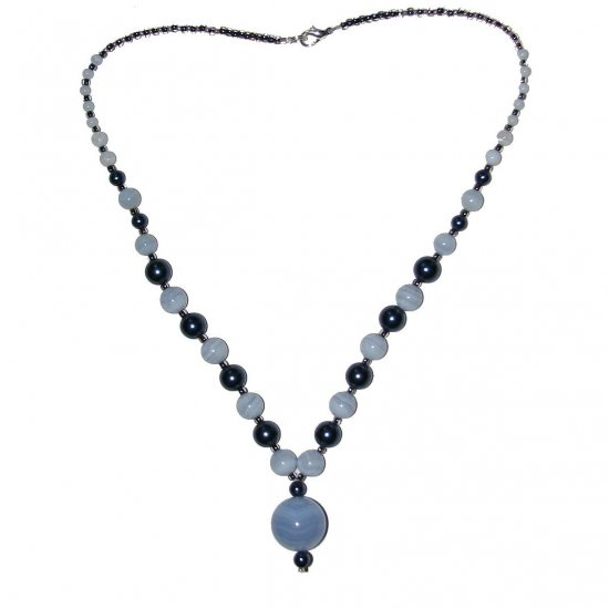 "Blue Lace Agate / Dark Blue Pearl Glass Beaded 21"" w/ 3/4"" Diam. Pendant Necklace"