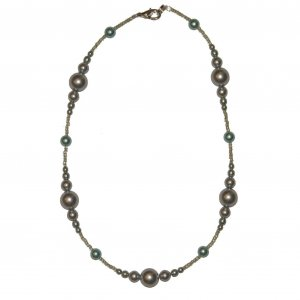 """Light Blue Pearl Glass Beaded w/ small Light Green beads 14.75"""" Necklace"""