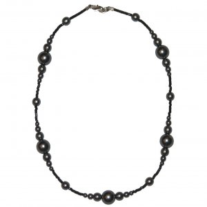 """Dark Grey Pearl Glass Beads with very small black spacer beads 15.5"""" Necklace"""