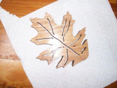 Wooden Oak leaf shaped trivet