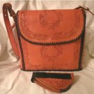 Amazing Saddle Tan Hand Tooled Full Grain Leather Concealed Carry Handbag!