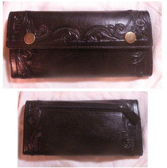 AWESOME BLACK CUSTOM HAND TOOLED LEATHER WALLET!