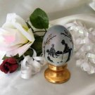 3799-French Opal Playing Croquet Pedestal Egg