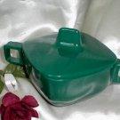 2308 Vintage Forest Green Arrowhead Sugar Bowl