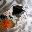 12662 Vanity White Rose Wreath Mirror