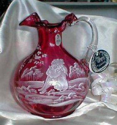 1426 Fenton Mary Gregory Cranberry Pitcher