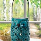 10016510 Charming Blue Owl Candle Lantern