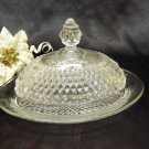 1744 Indiana Crystal Diamond Point Oval Butter Dish