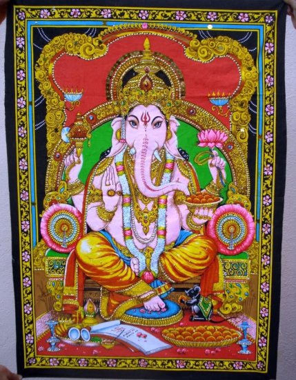 Hindu Elephant Deity Ganesha Tapestry Indian Sequin Wall Hanging Vintage Home Decoration Art India