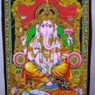 Hindu Elephant Deity Ganesha Tapestry Indian Sequin Wall Hanging Vintage Home Decoration Art India