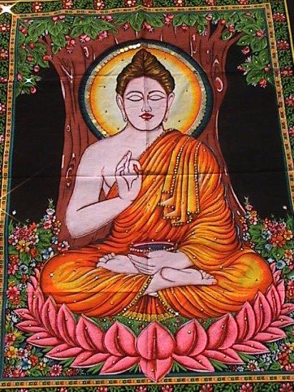 Shakyamuni Buddha Wall Hanging Cotton Buddhist Tapestry Meditation Decor India Tibet Decoration Art