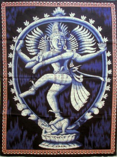 Batik Dancing Shiva Nataraja  Wall Hanging Decor Cotton Tapestry India Ethnic Home Decoration Art