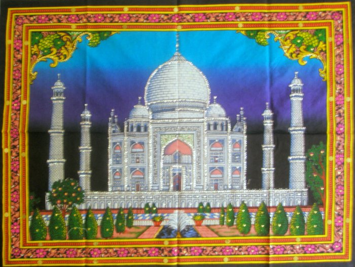 Taj Mahal Mughal Architecture Indian Wall Hanging  Large  Tapestry Ethnic Vintage Decor Art  India