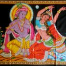 Dancing Radha and Krishna Playing Flute Wall Hanging Large Tapestry Ethnic Home Decor Art India