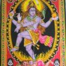 Dancing Shiva Nataraja Hindu Tapestry Cotton  Large Wall Decor Ethnic India Vintage Decoration Art