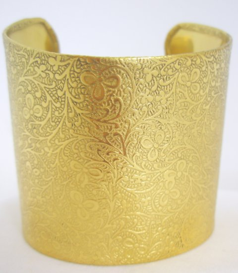 Traditional Vintage look Wide Brass Floral Cuff Bracelet Indian Bangle Belly Dance Jewelry