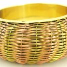 Handmade Ethnic Two Tone Indian Brass Bangle Bracelet  Vintage Jewelry Plus Size Gypsy Boho