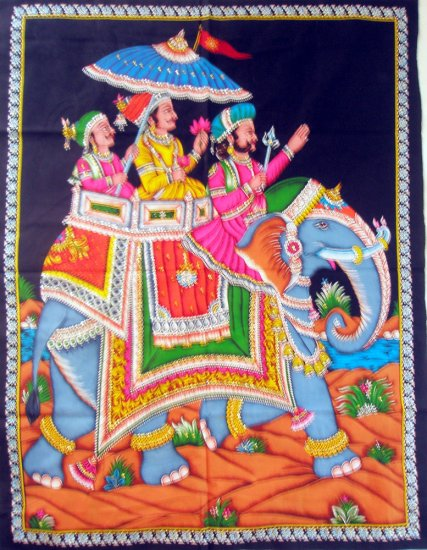 Indian Elephant Wall Hanging  Sequin Tapestry Mughal Ethnic Home Decor Vintage Art India