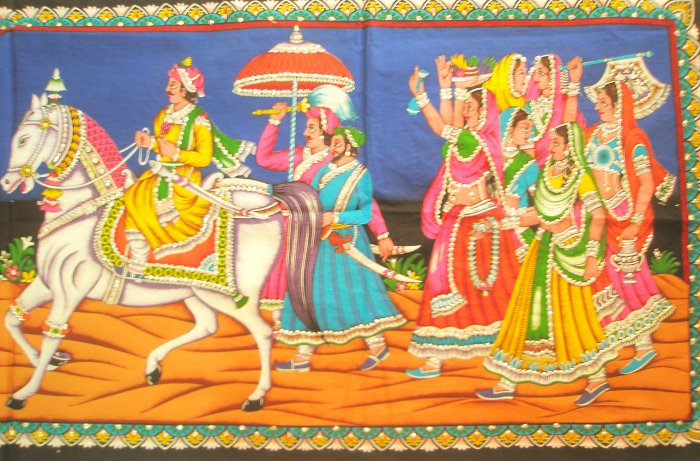 Mughal King Procession Ethnic Wall Hanging Home Decor Sequin Large Tapestry India Rajasthan