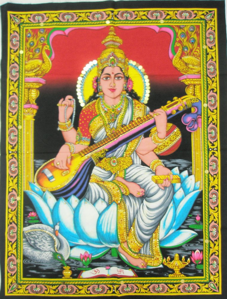 Hindu Goddess Saraswati Wall Hanging Decor Tapestry India