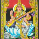 Hindu Goddess Saraswati Wall Hanging Decor Tapestry  India Ethnic Sequin Home Decoration Art