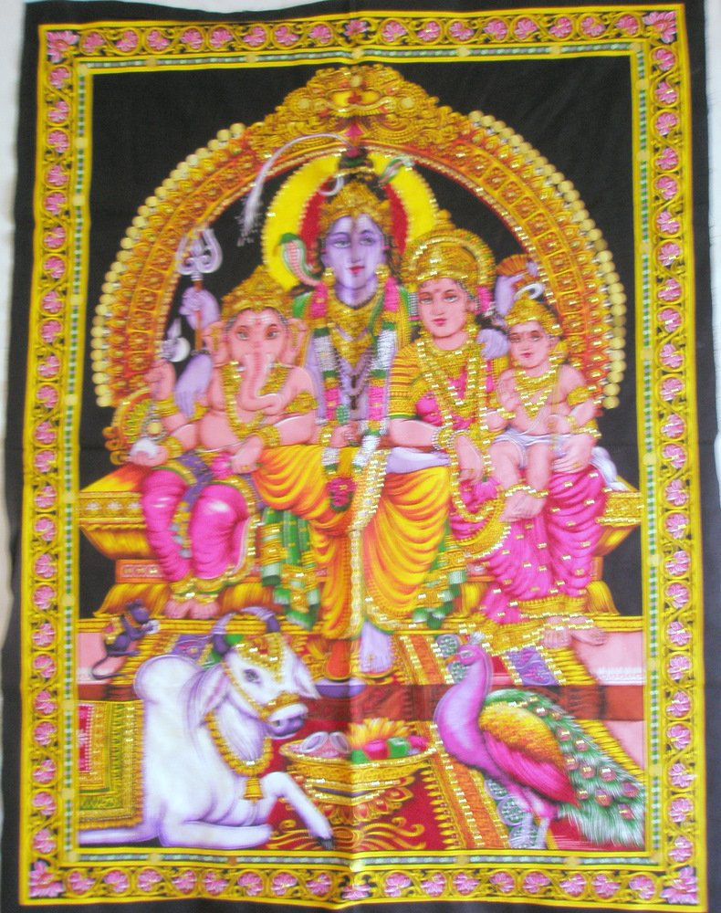 Hindu Shiva Ganesha Parvati Tapestry Indian Sequin Wall Hanging Fabric Decor India Home Decor Art