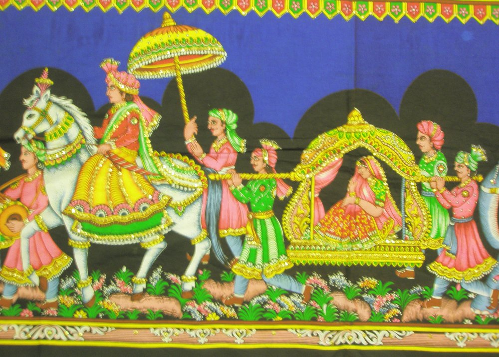 Mughal Procession Indian Sequin Wall Hanging Large Sequin Tapestry India Ethnic Decor Vintage Art
