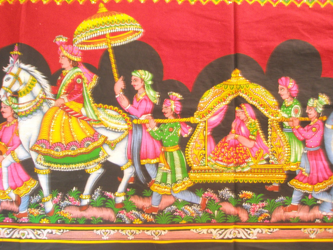Mughal King Marriage Procession Wall Hanging Large Sequin Tapestry ...