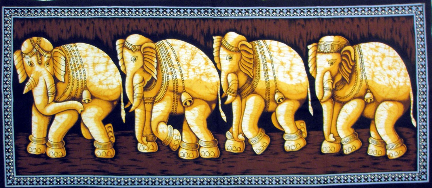 Batik Indian Elephant Wall Hanging Tapestry Ethnic India Home Decor Rajasthan Decoration Vintage Art