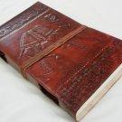 Handmade Leather Journal Camel Embossed Vintage Diary Writing Notebook Large Sketchbook