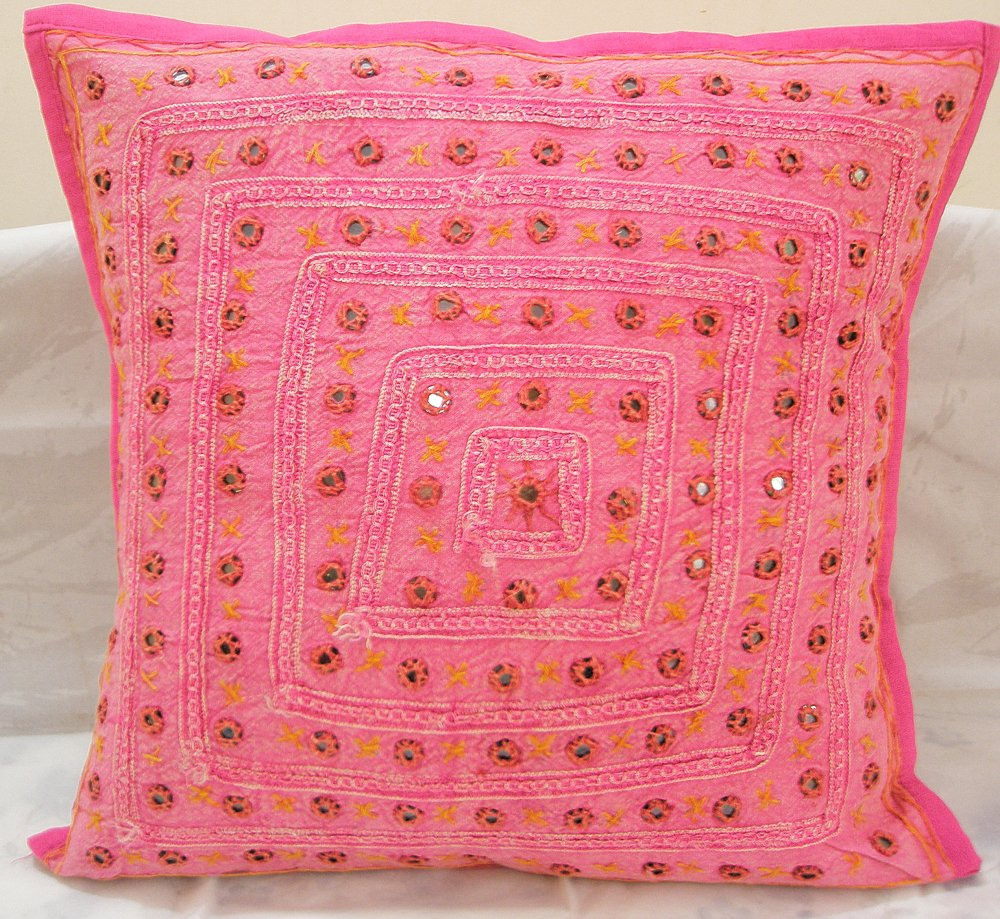 Embroidered Indian Cushion Covers Toss Pillows Sofa Throw Ethnic Mirror Work Vintage Decor India
