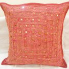 Embroidered Indian Cushion Covers Toss Pillow  Ethnic Sofa Couch Throw Mirror Work Decoration India