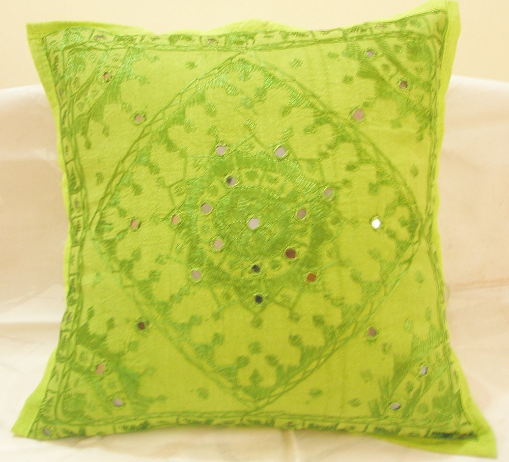 Decorated Embroidered Ethnic Indian Cushion Covers Sofa Throw  Home Decor Mirror Work India