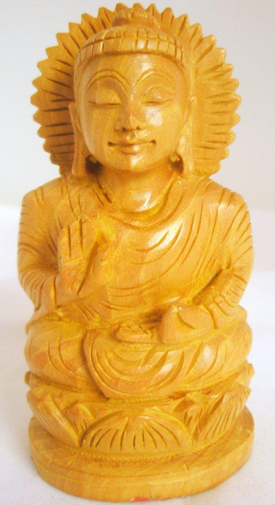 Hand carved Meditating Indian Lotus Buddha Shrine Statue India Home Decor Vintage Buddhism