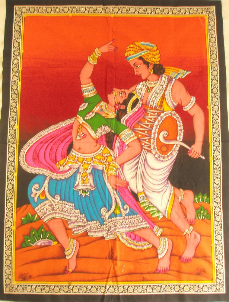Rajasthan Folk Tribal Dance Drum Wall Hanging Decor Sequin Tapestry Vintage India  Home Decoration