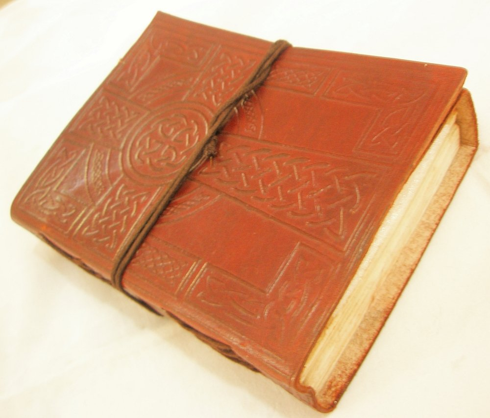 Celtic Cross Handmade Leather Bound Embossed Journal Blank Diary  Writing Notebook