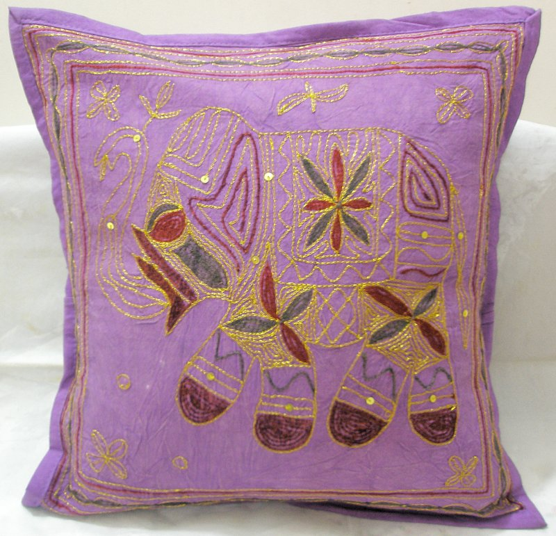 Embroidered Elephant Indian Cushion Covers Purple Pillow Sofa Throw Ethnic Vintage Decor India Art