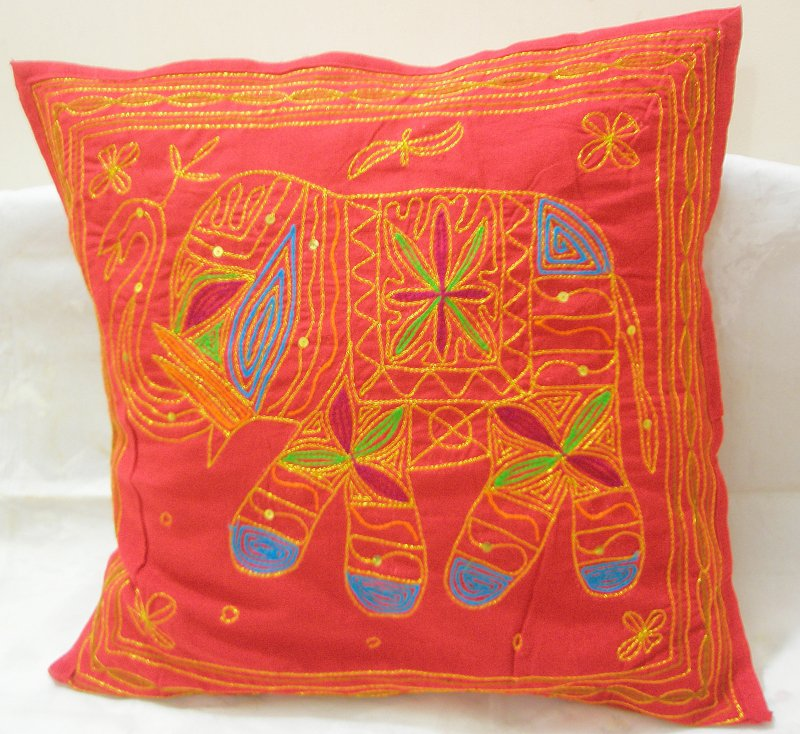 Red Embroidered Indian Decorated Cushion Pillow Covers Sofa Throw Ethnic India Vintage Art