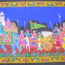 King Elephant Royal Hunting Procession Wall Hanging Sequin Large Tapestry India Ethnic Home Decor