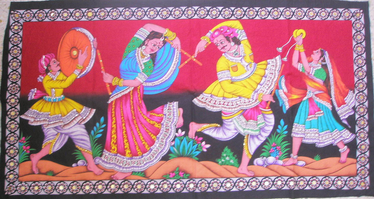 Indian Sequin Tapestry Rajasthan Folk Tribal Dance Wall Hanging Decor Vintage India Home Decoration