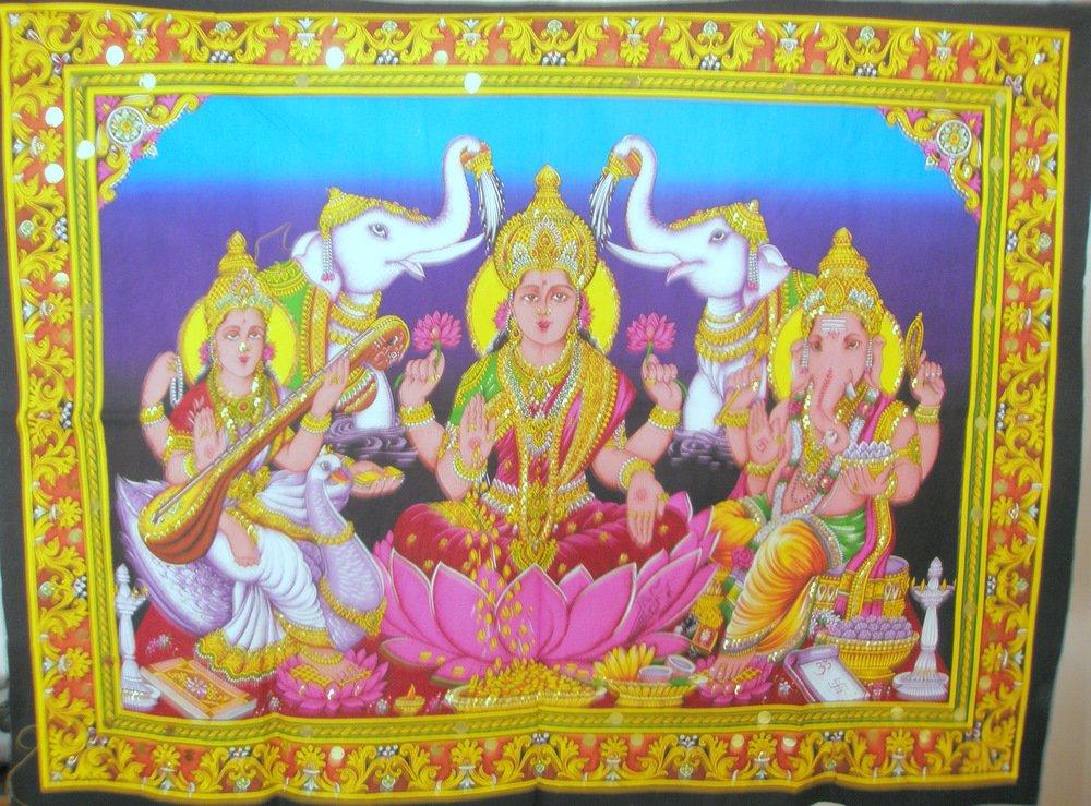 Hindu God Ganesha Saraswati Lakshmi Laxmi Tapestry Indian Sequin Wall Hanging Ethnic Decor Art India